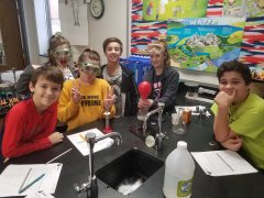 7th grade students observing conservation of matter