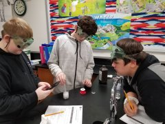 7th graders observing Exothermic and Exothermic Reactions