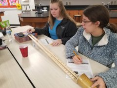 8th graders calculating Kinetic Energy